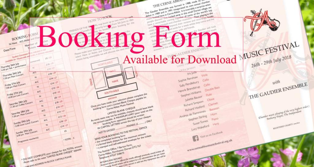 2018 Booking Form available for Download